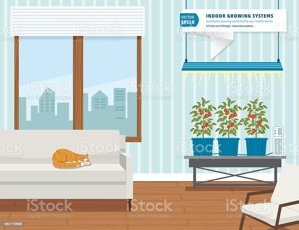 IoT Hydroponic Indoor Growing Systems Concept vector art illustration