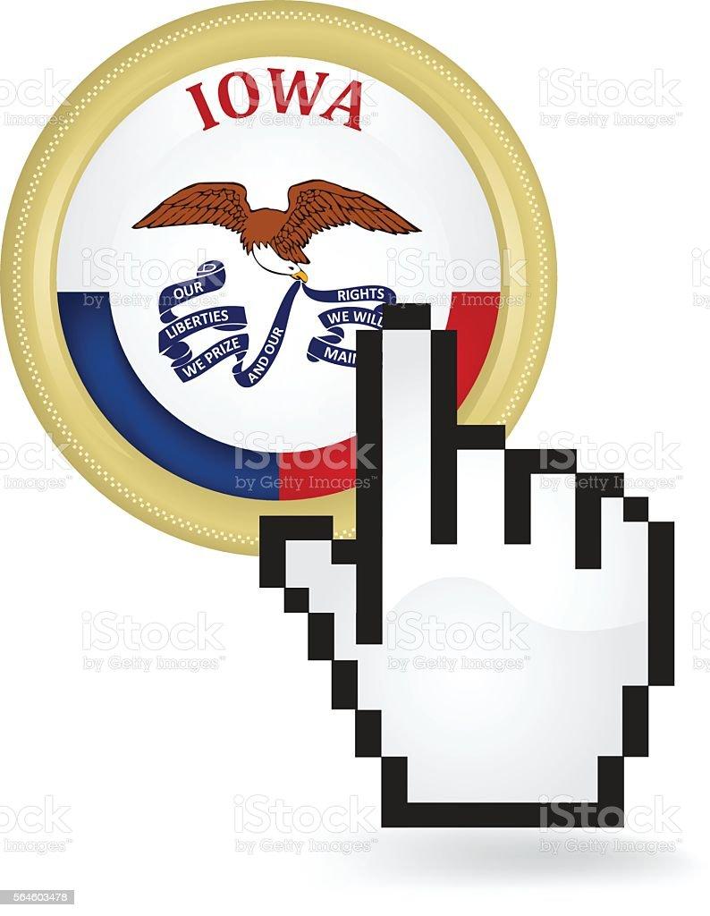 Iowa Button Click vector art illustration