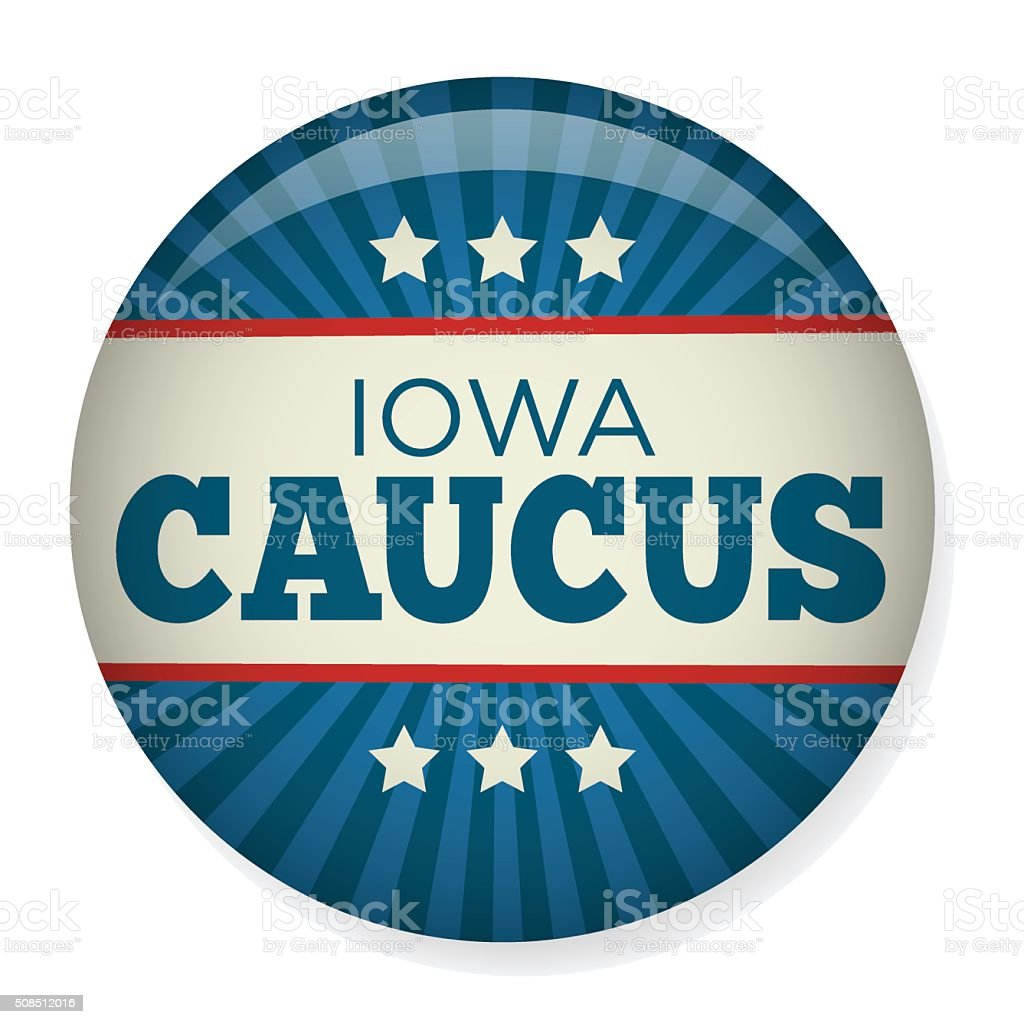 Iowa Caucus Campaign Election Pin Button or Badge. vector art illustration