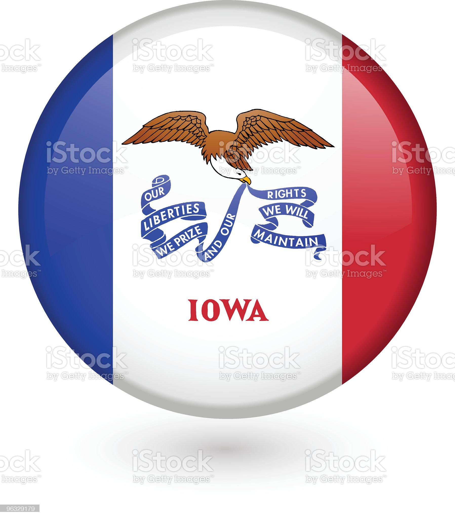 Iowa flag button royalty-free stock vector art