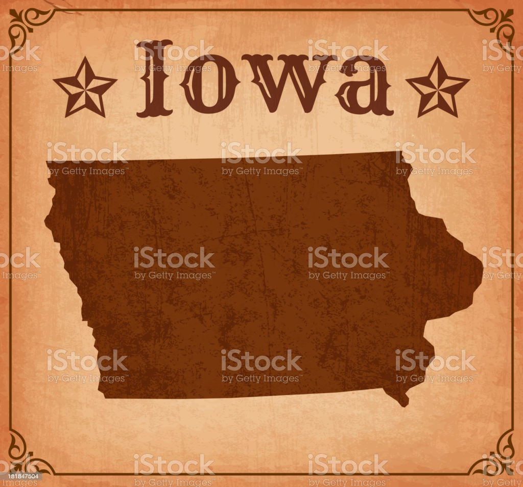 Iowa Grunge Map with Frame royalty-free stock vector art