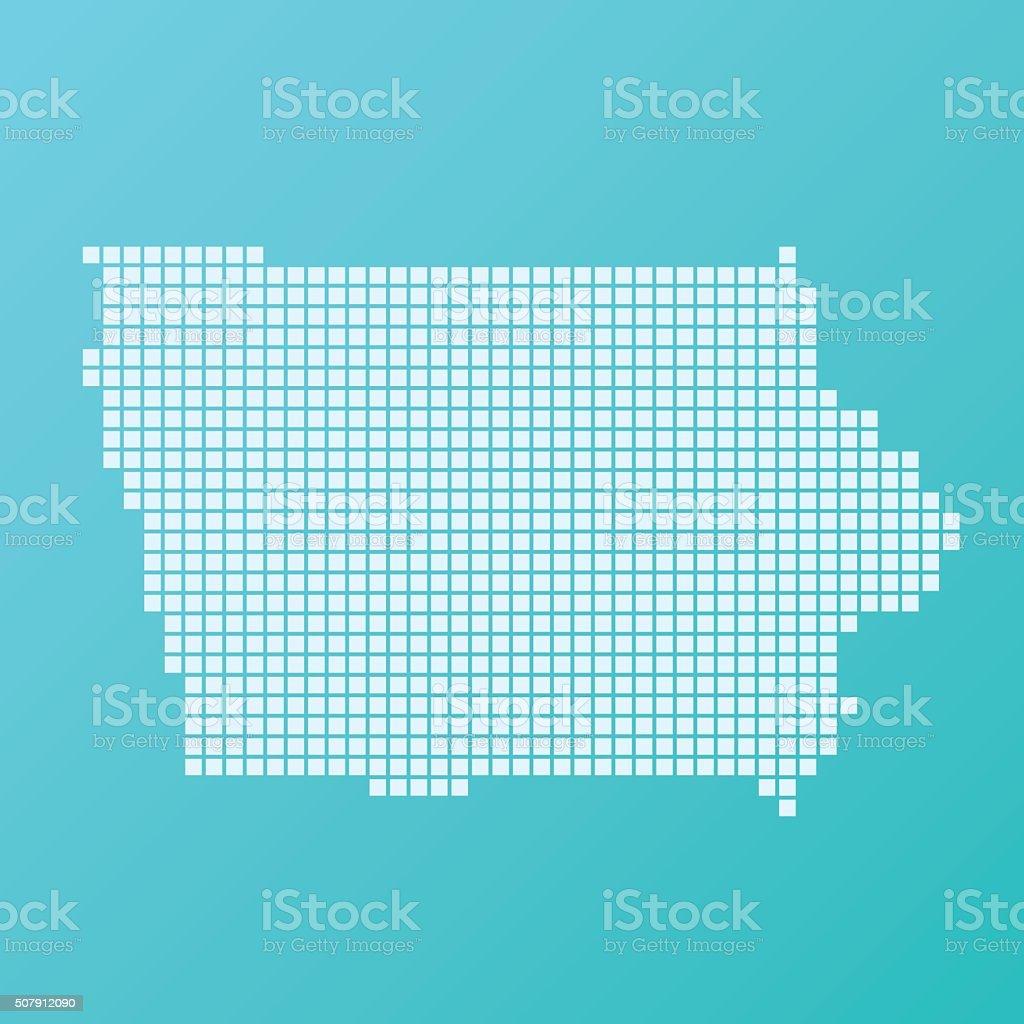 Iowa Map Basic Square Pattern Turquoise vector art illustration
