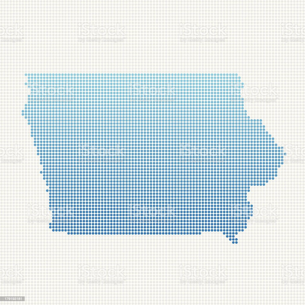 Iowa Map Blue Dot Pattern royalty-free stock vector art