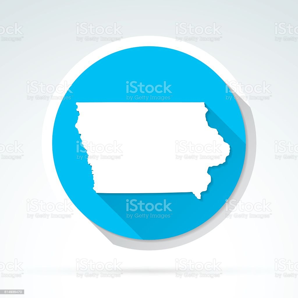 Iowa map icon, Flat Design, Long Shadow vector art illustration