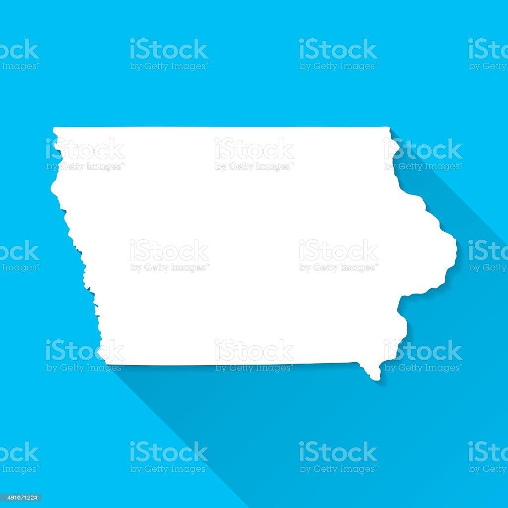Iowa Map on Blue Background, Long Shadow, Flat Design vector art illustration
