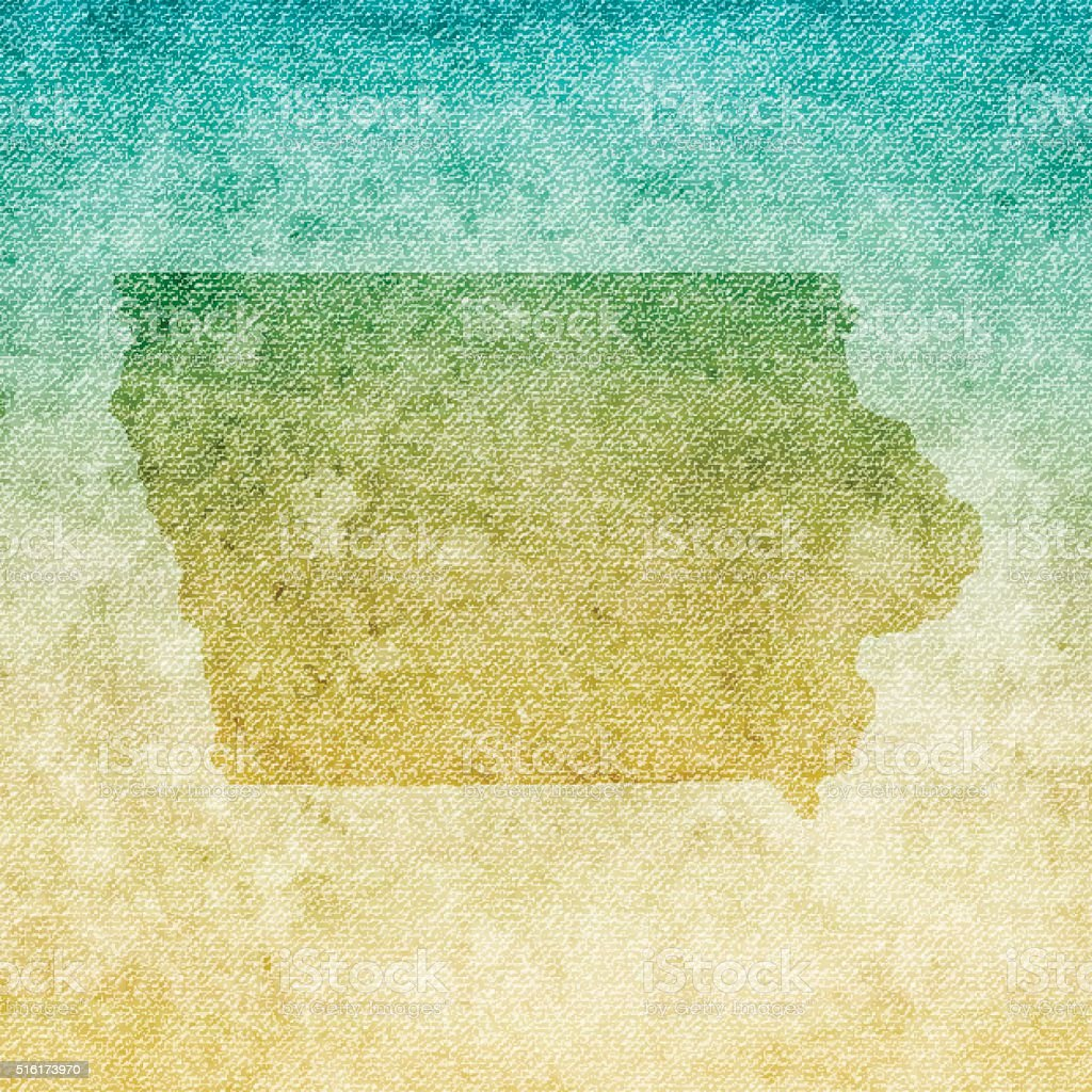 Iowa Map on grunge Canvas Background vector art illustration
