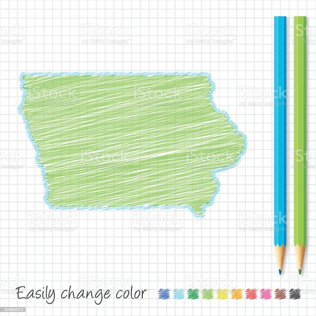 Iowa map sketch with color pencils, on grid paper vector art illustration