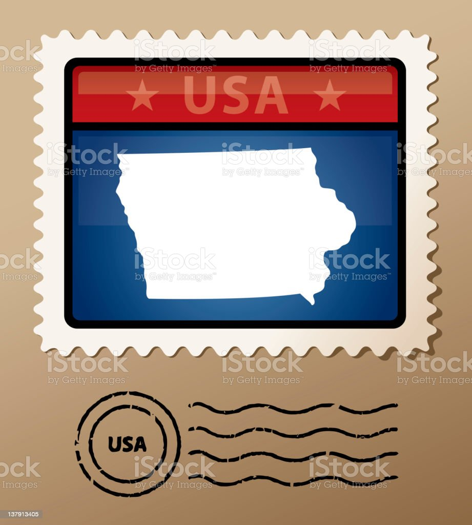 USA Iowa postage stamp royalty-free stock vector art