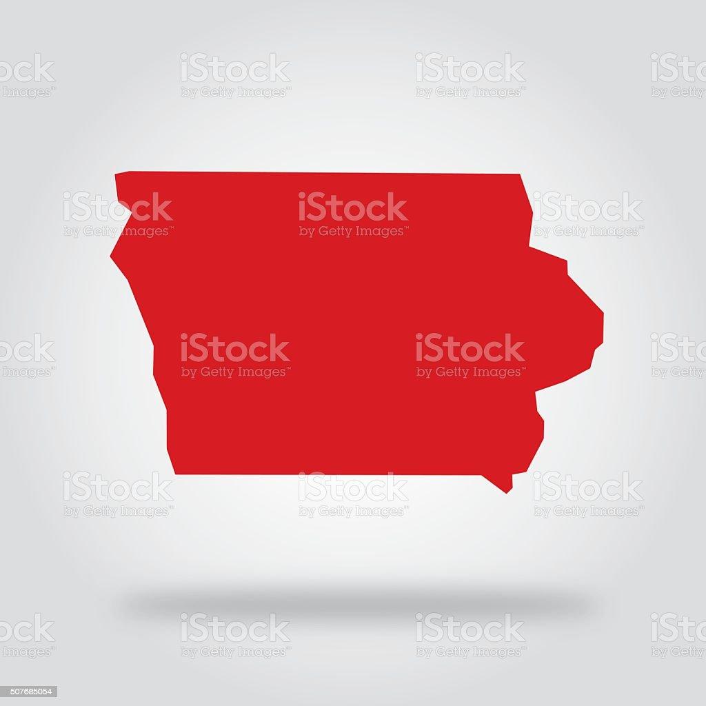 Iowa Red State Icon vector art illustration
