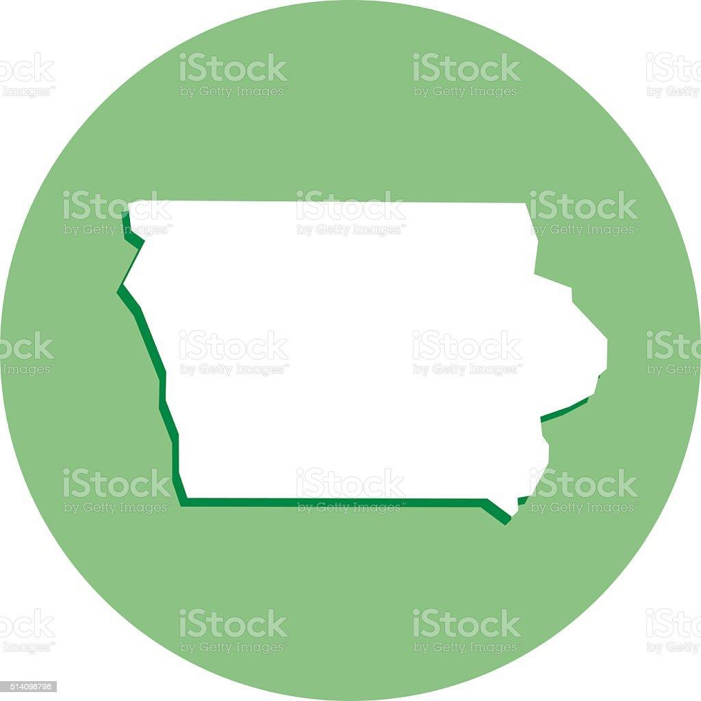 Iowa Round Map Icon vector art illustration