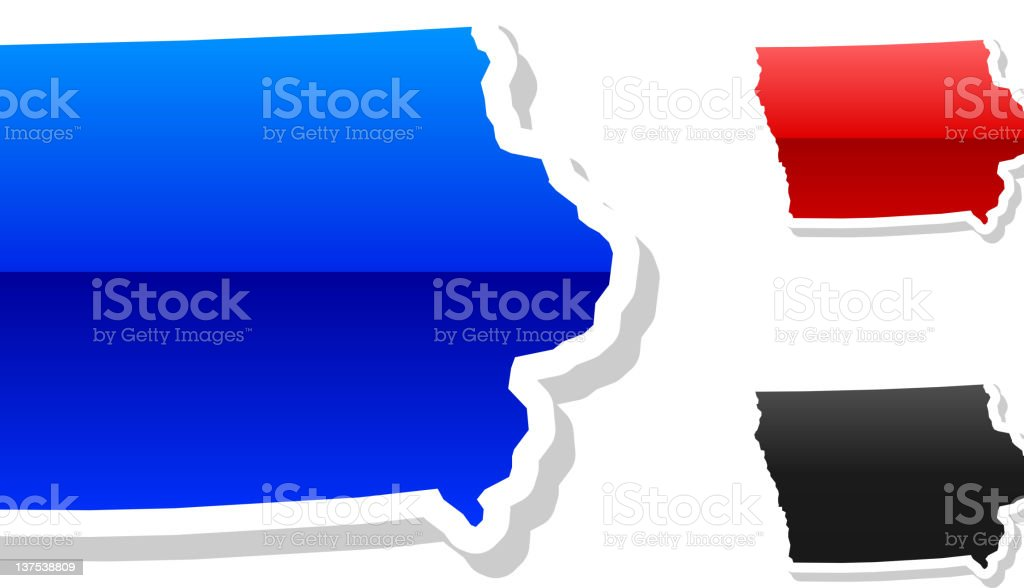 Iowa state button royalty free vector art in 3 colors royalty-free stock vector art