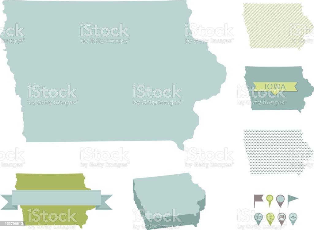 Iowa State Maps vector art illustration