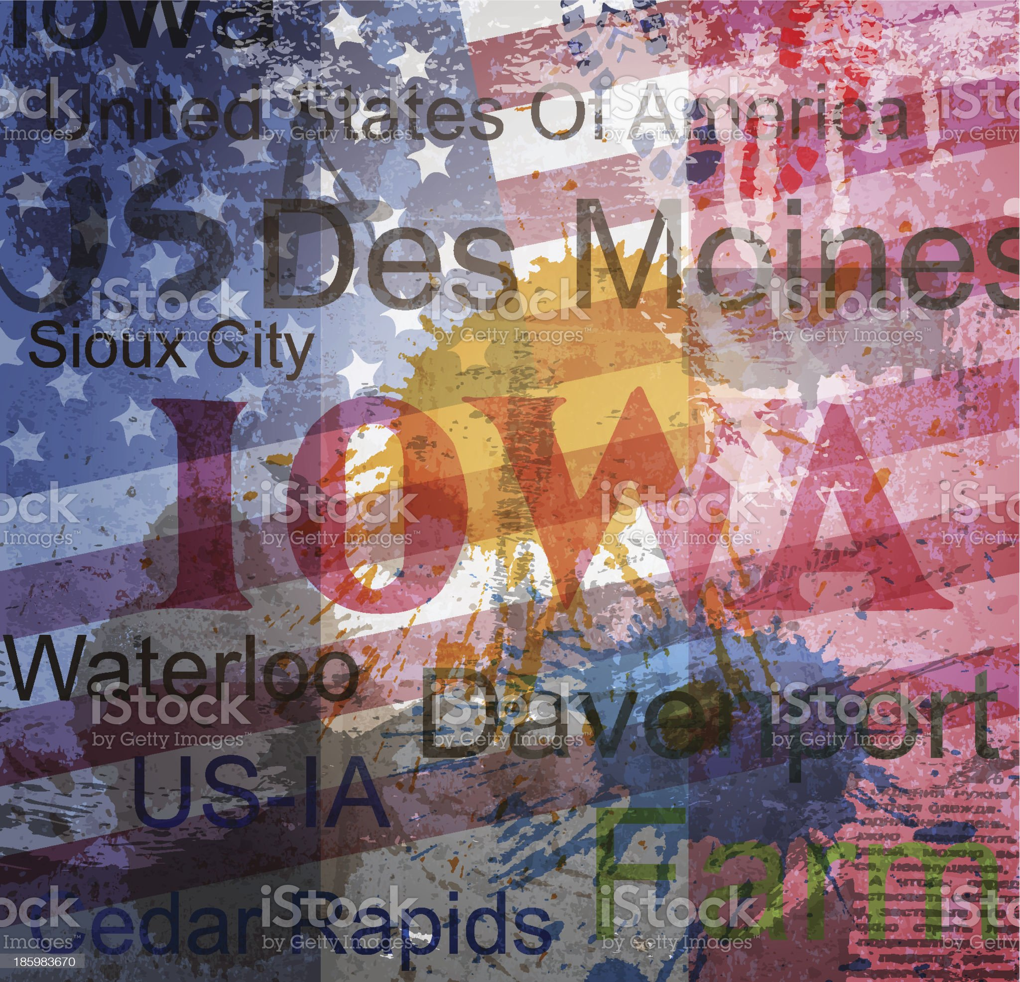 Iowa State. Word Grunge collage on background. royalty-free stock vector art