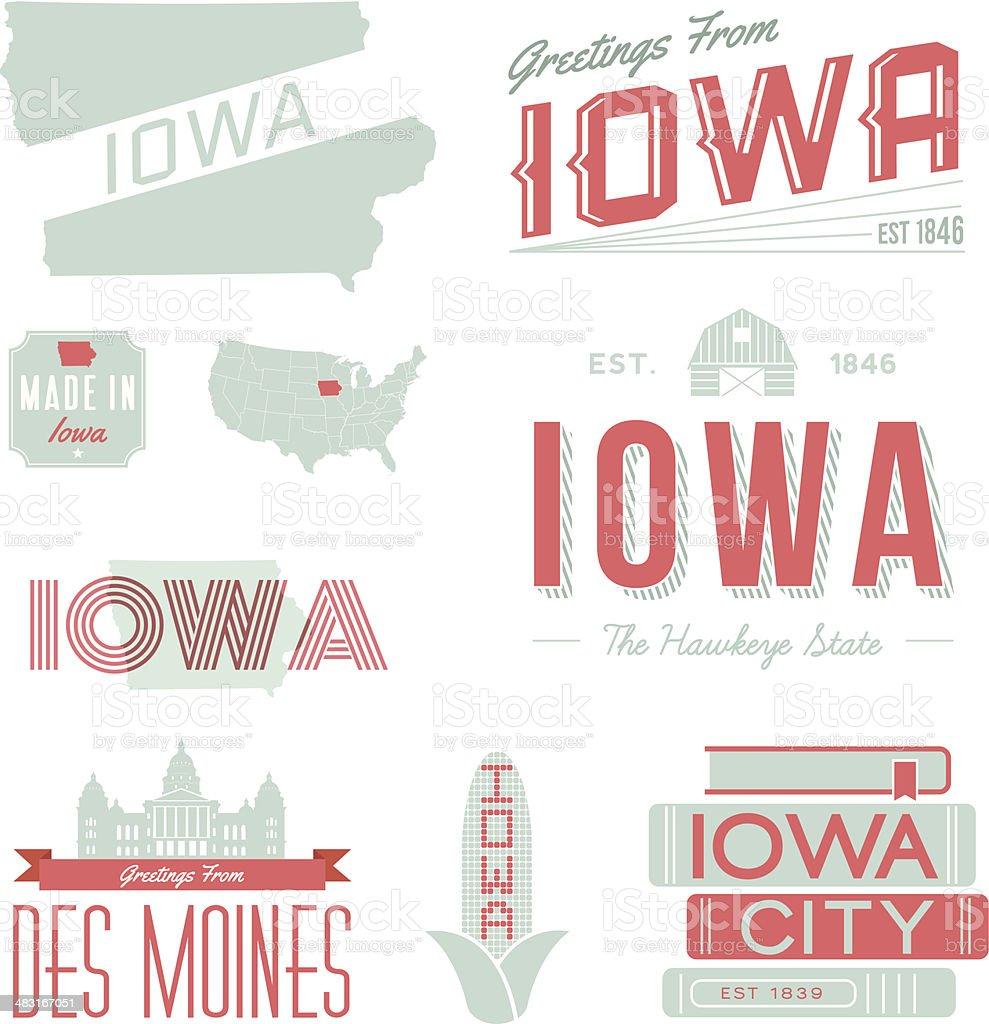 Iowa Typography vector art illustration