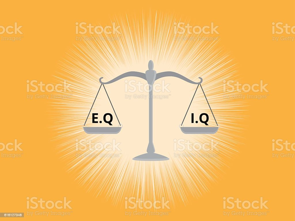 iq or eq intellectual  vs emotional question compare on a vector art illustration