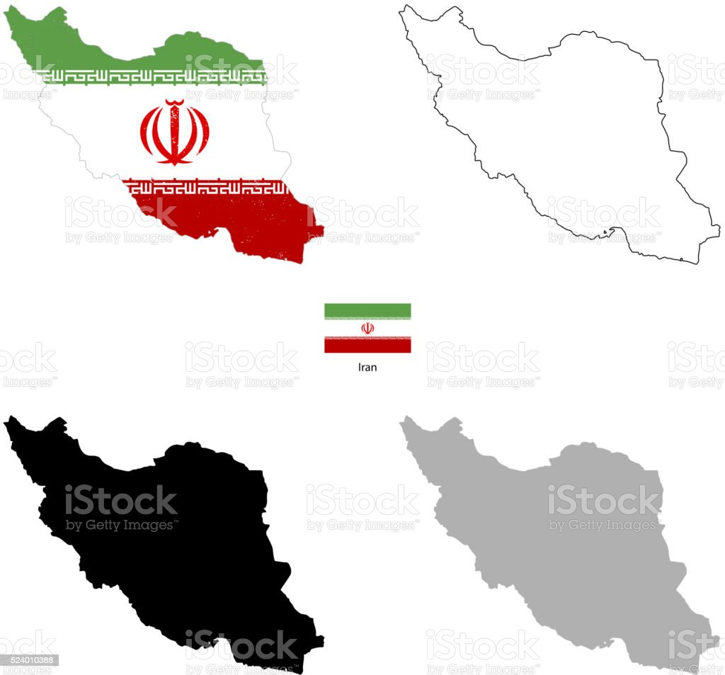 Iran country black silhouette and with flag on background vector art illustration