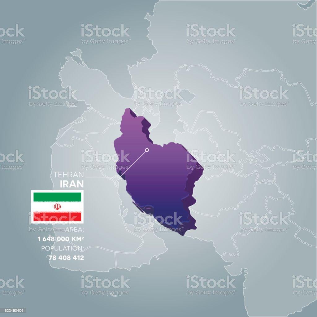 Iran information map. vector art illustration