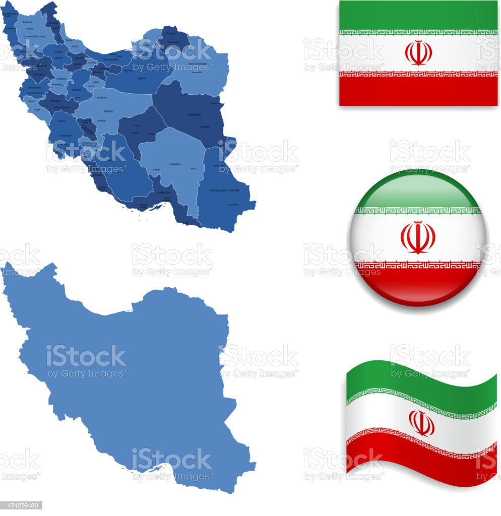 Iran Map and Flag Collection vector art illustration