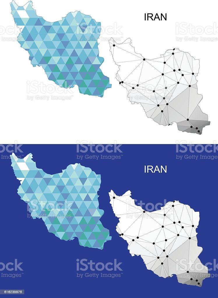 Iran map in geometric polygonal style. Abstract gems triangle. vector art illustration