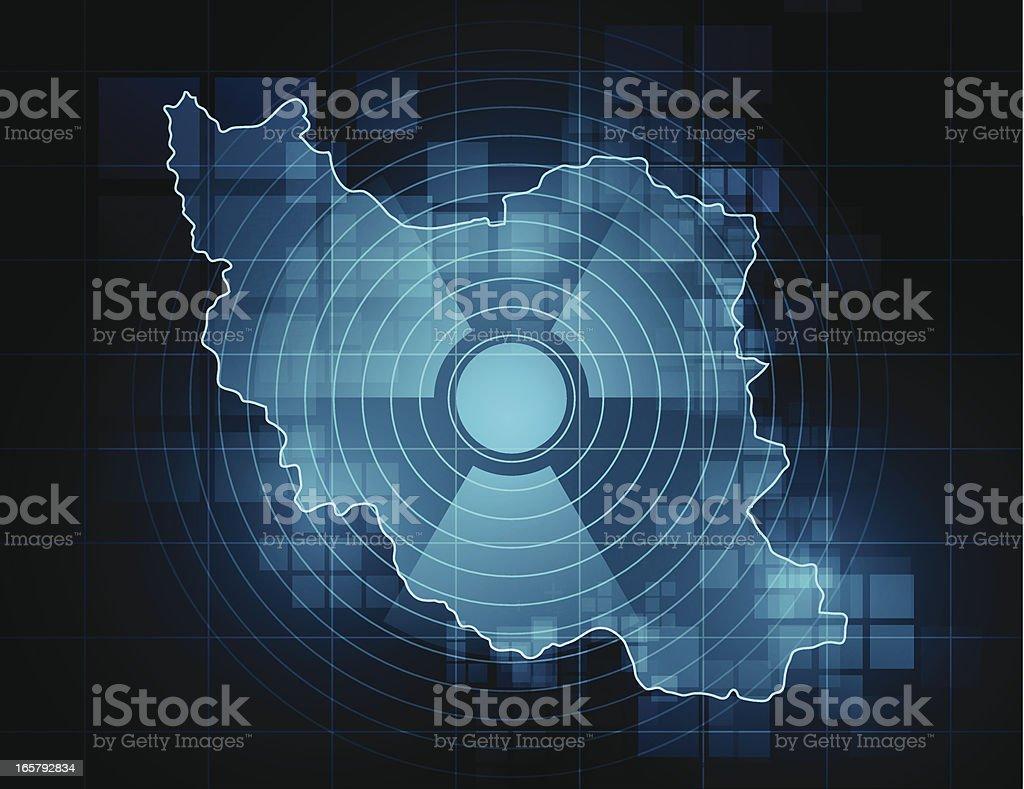 Iran map - nuclear threat vector art illustration