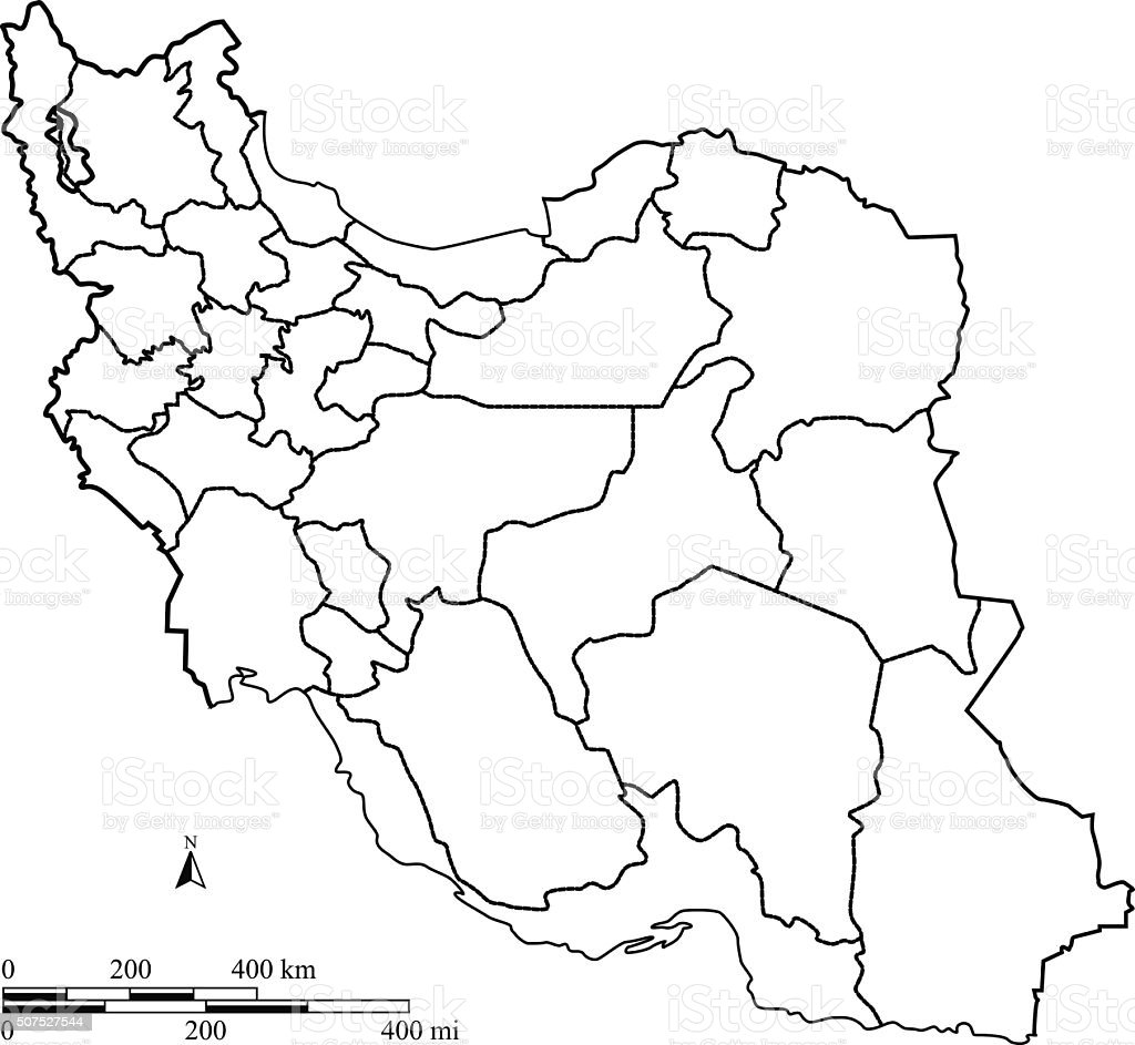 Iran map outline vector with scales in a blank design vector art illustration