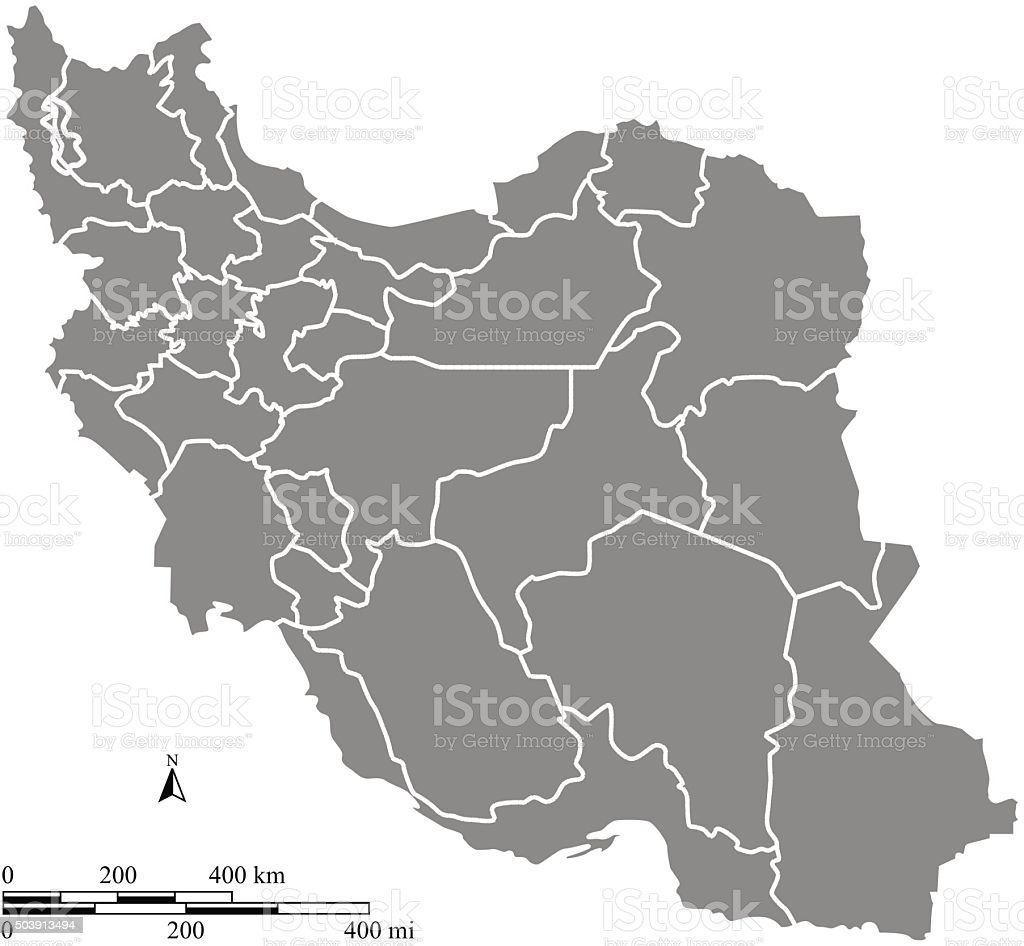 Iran map outline vector with scales of miles and kilometers vector art illustration