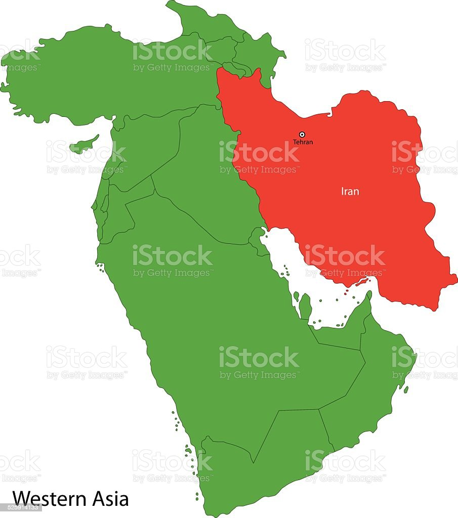 Iran map vector art illustration