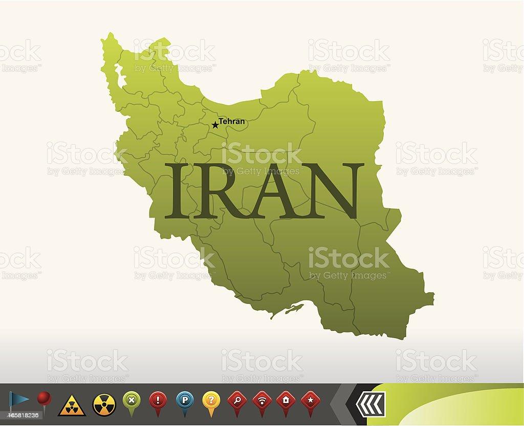 Iran map with navigation icons vector art illustration