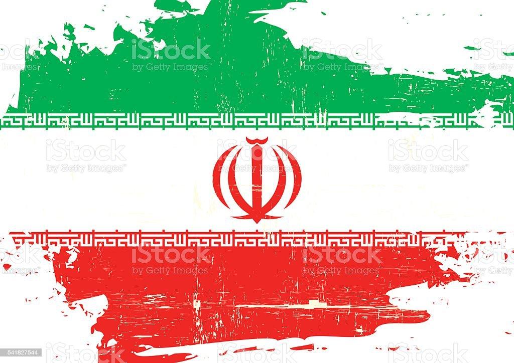 Iran scratched Flag vector art illustration
