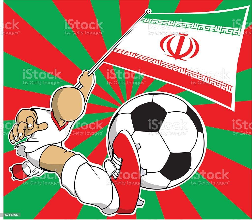 Iran soccer player vector cartoon royalty-free stock vector art