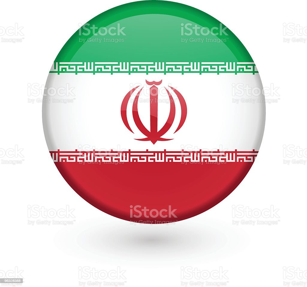 Iranian flag vector button vector art illustration