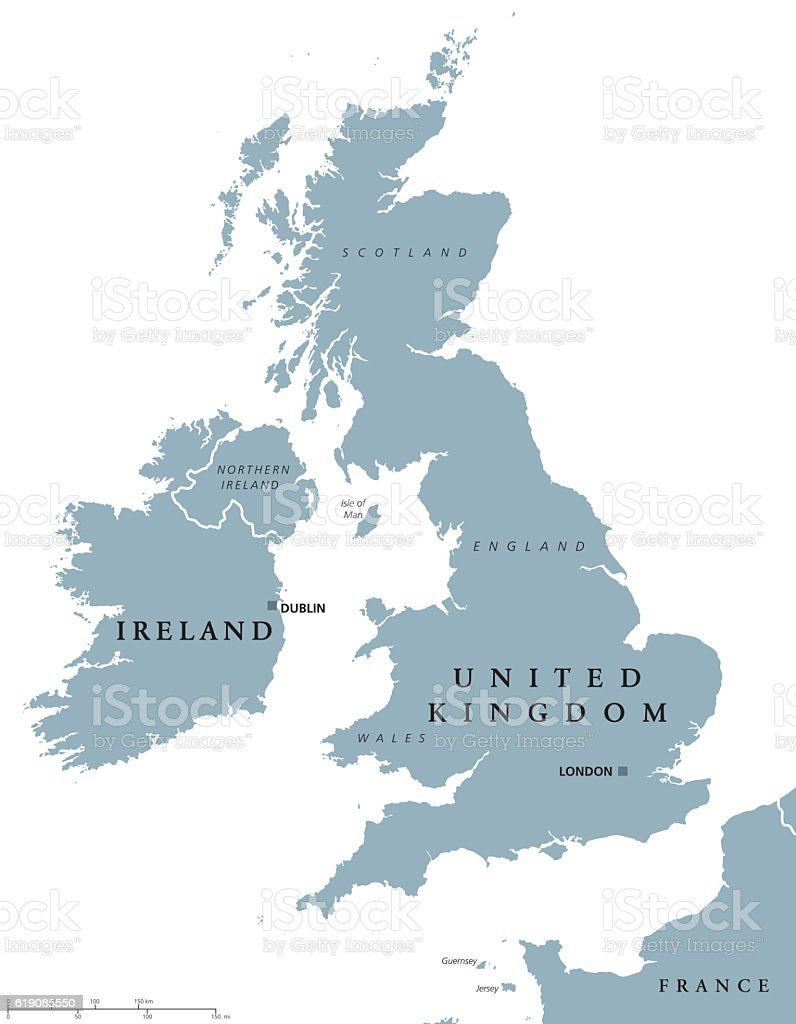 Ireland and United Kingdom political map vector art illustration