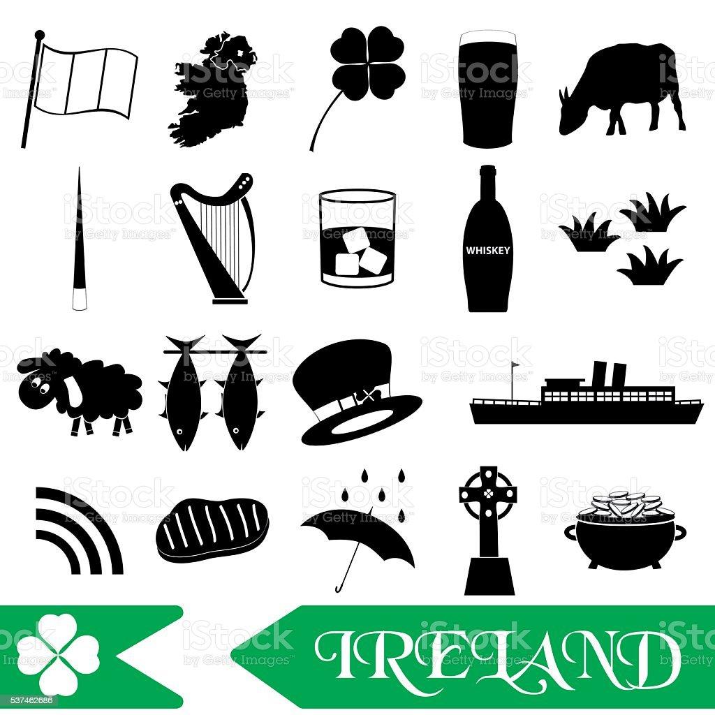 ireland country theme symbols outline icons set eps10 vector art illustration
