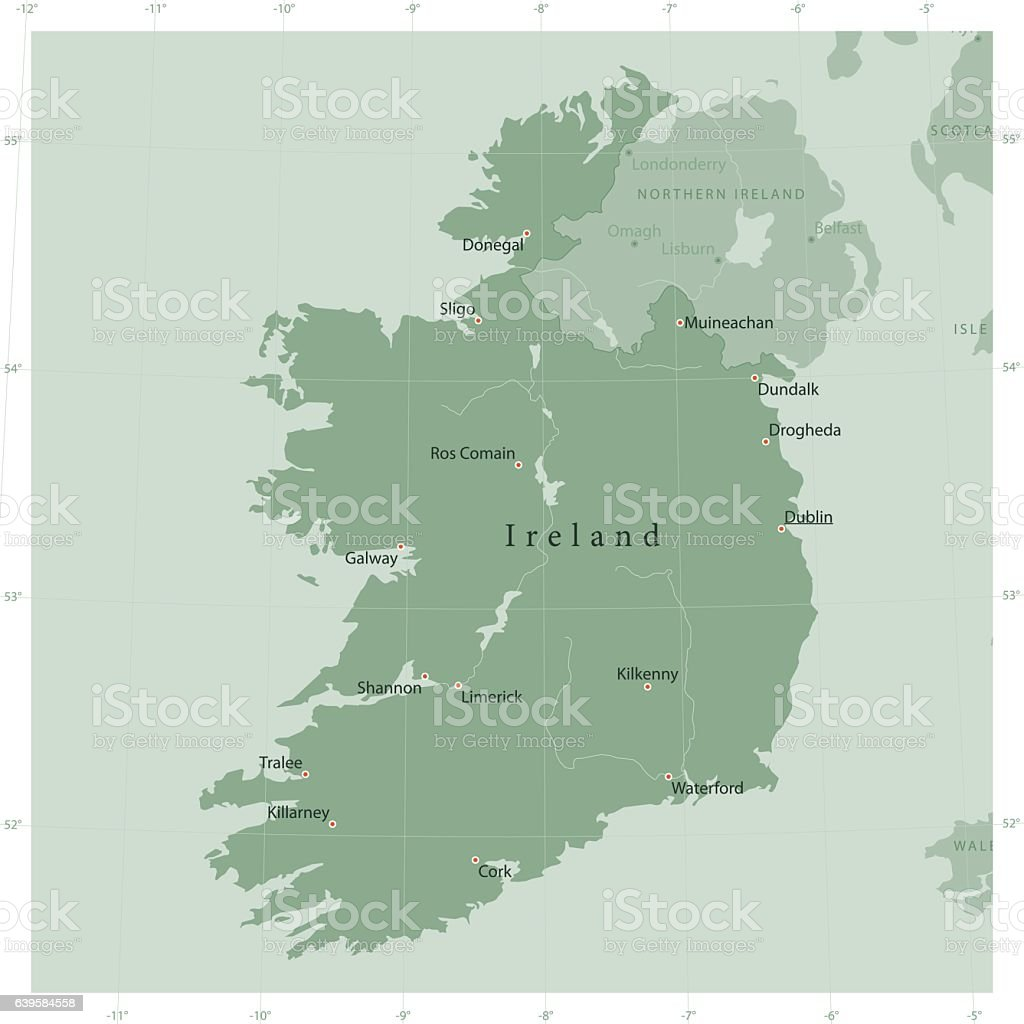 Ireland Country Vector Map Olive Green vector art illustration