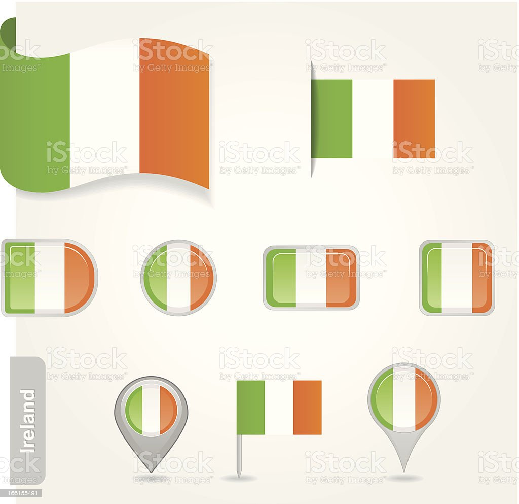 Ireland flag icon royalty-free stock vector art