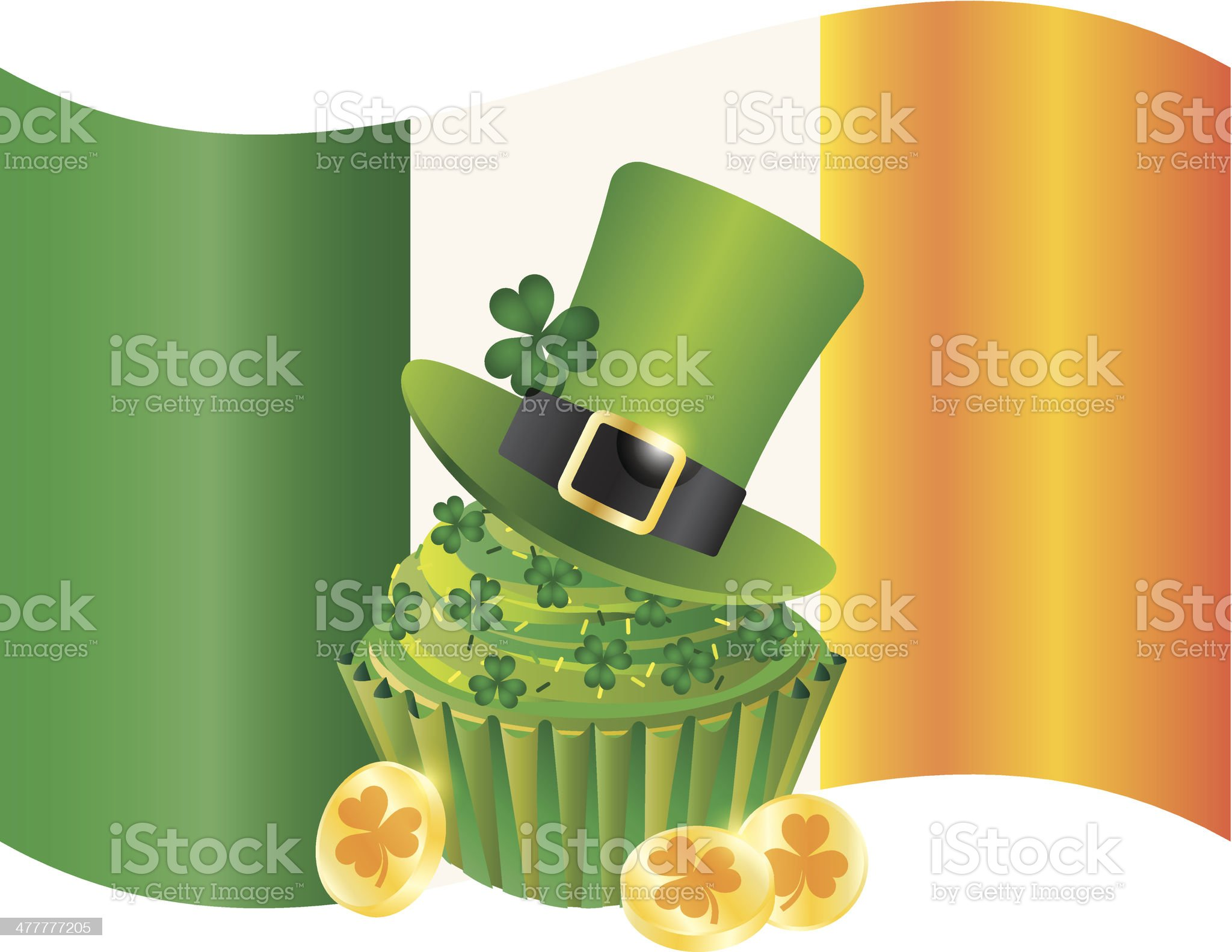 Ireland Flag with Hat Cupcake Coins and Shamrock Vector Illustration royalty-free stock vector art