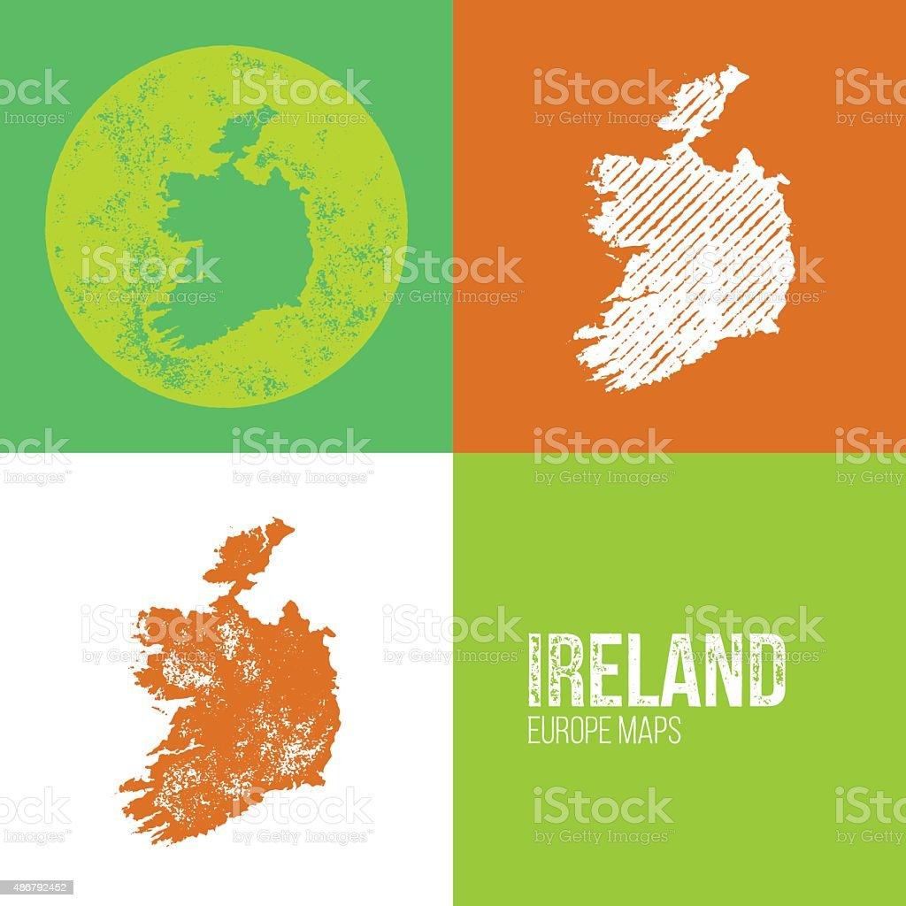 Ireland Grunge Retro Map vector art illustration