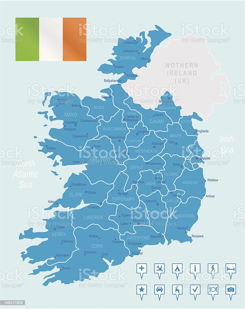 Ireland - highly detailed map vector art illustration