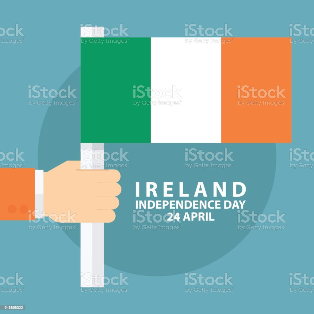 ireland independence day 24 april greeting card with hand holding