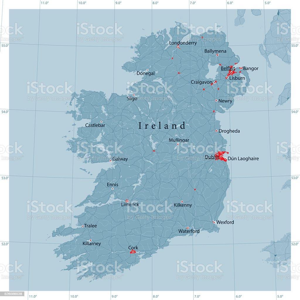Ireland Island Vector Road Map vector art illustration