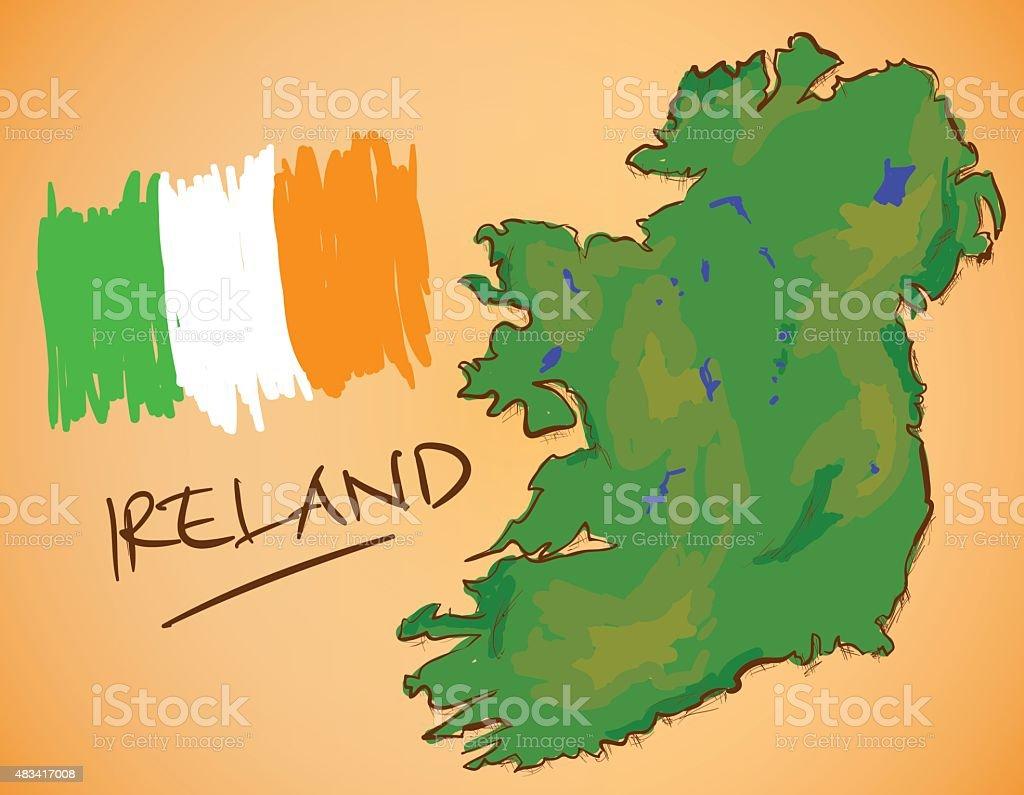 Ireland Map and National Flag Vector vector art illustration