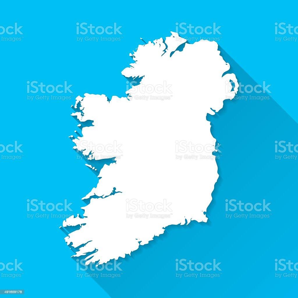 Ireland Map on Blue Background, Long Shadow, Flat Design vector art illustration