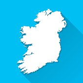 Ireland Map on Blue Background, Long Shadow, Flat Design