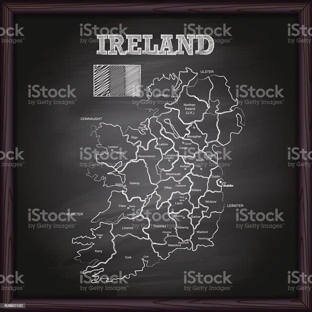 Ireland map on chalkboard vector art illustration