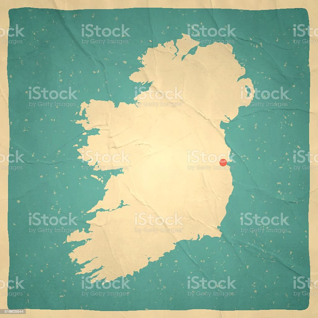 Ireland Map on old paper - vintage texture vector art illustration