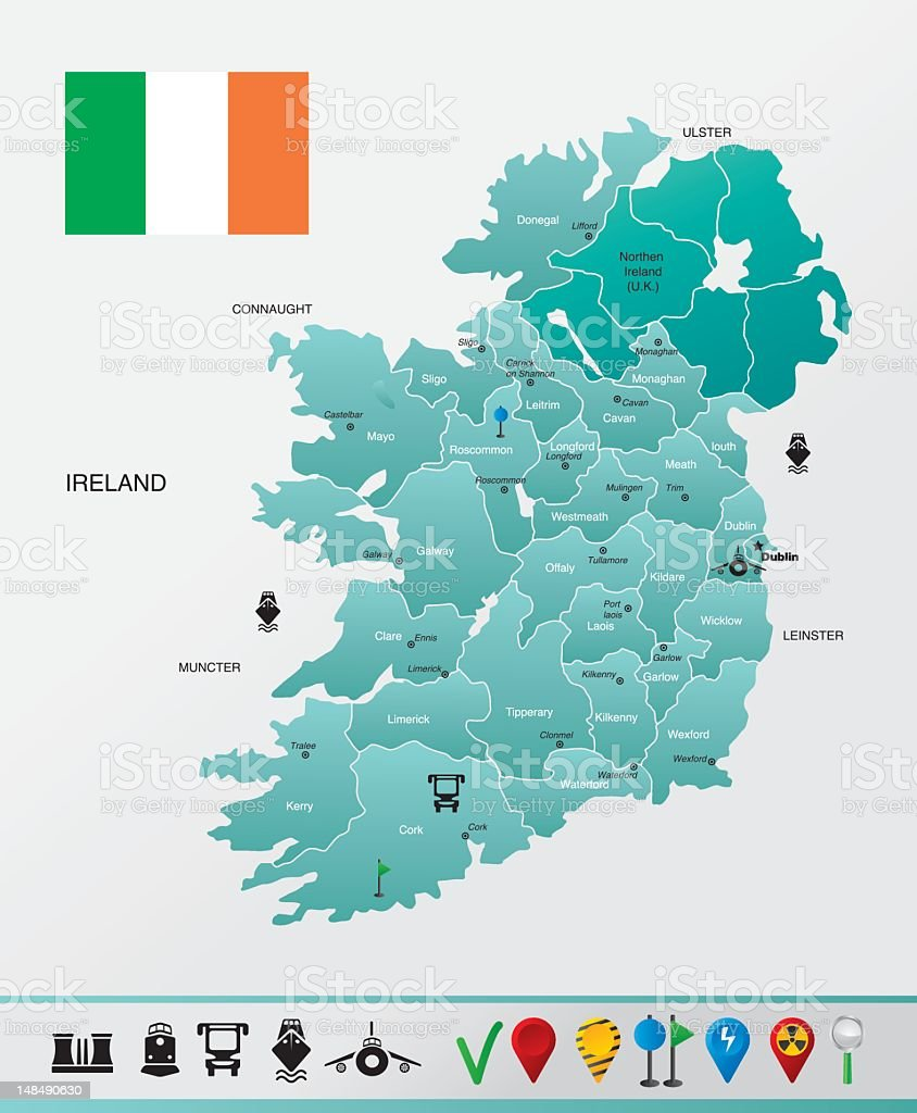 Ireland map royalty-free stock vector art