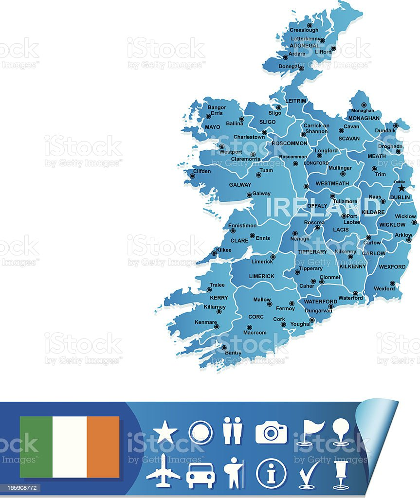 Ireland map royalty-free stock vector art