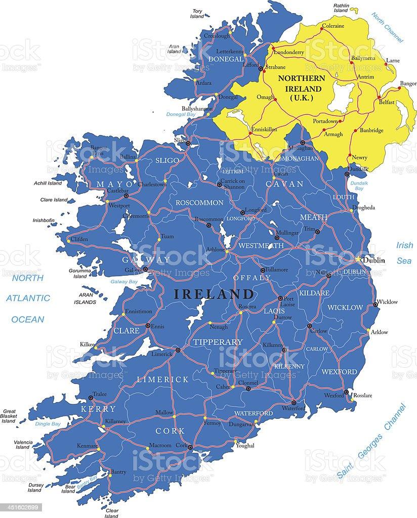 Ireland map vector art illustration