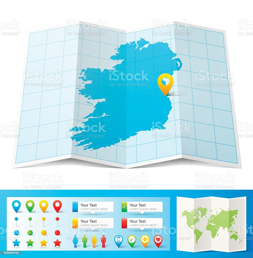 Ireland Map with location pins isolated on white Background vector art illustration