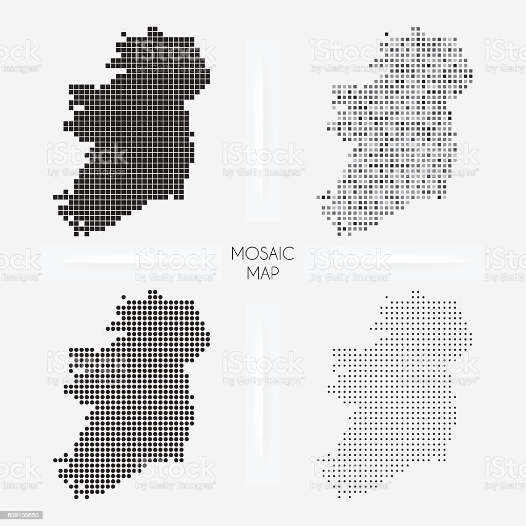 Ireland maps - Mosaic squarred and dotted vector art illustration